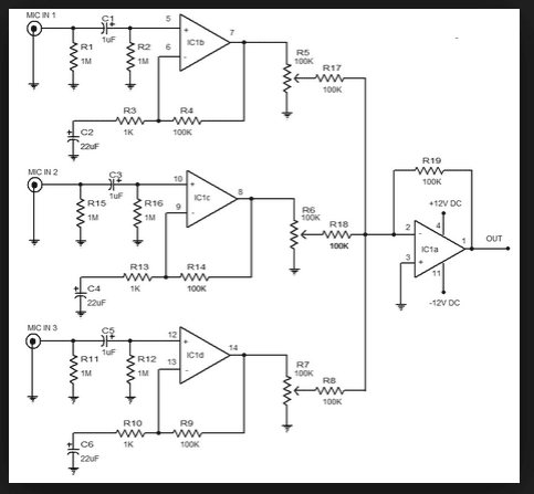 Wiring Schematic Diagram: 3-Input Mic Preamplifier Circuit