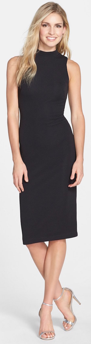Gabby Skye Mock Neck Body-Con Midi Dress