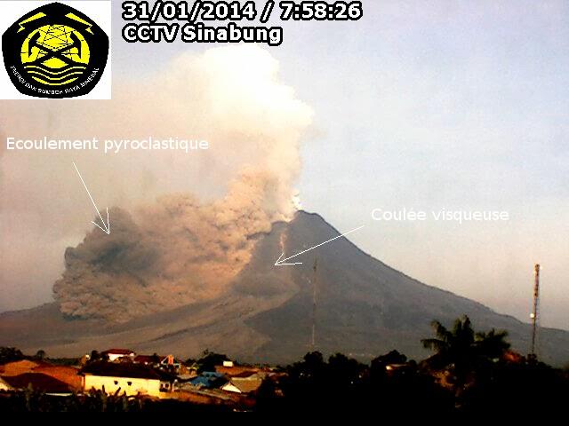 Ecoulement pyroclastique du volcan Sinabung, 31 janvier 2014