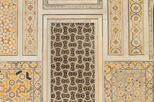 Gorgeous carving and painting on the walls of Baby Taj, Agra, India