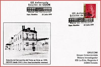 Tarjeta del 125 aniversario de la Estación de ferrocarril de Gijón.