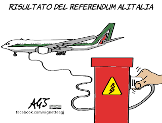 alitalia, referendum, tagli, economia, sindacati, satira, vignetta