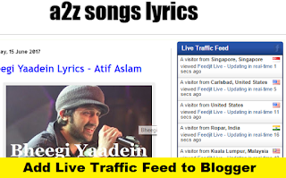 How to Add Live Traffic Feed to Blogger with Pictures