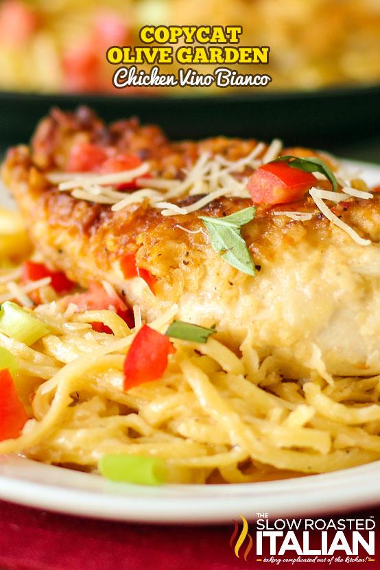 dish of skillet chicken in white wine sauce