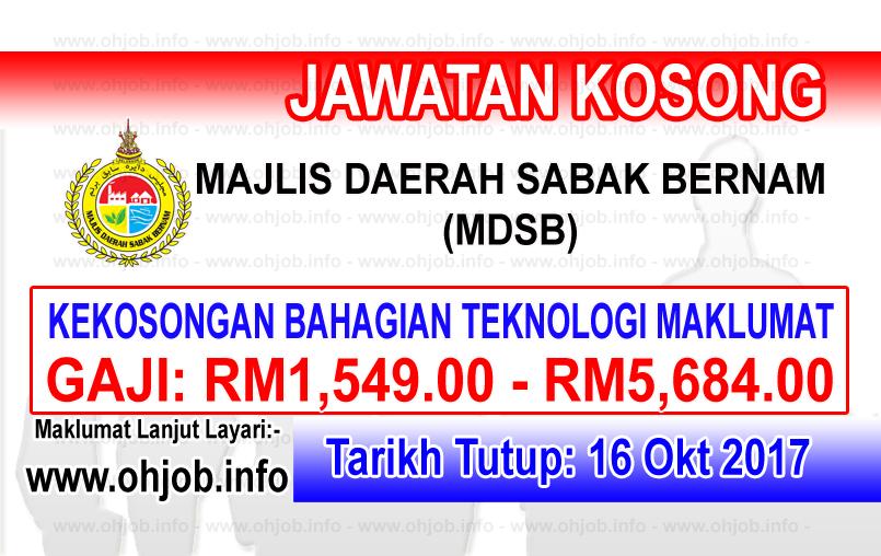 Jawatan Kerja Kosong MDSB - Majlis Daerah Sabak Bernam logo www.ohjob.info oktober 2017