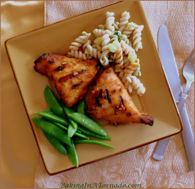 Spicy Peanut Grilled Chicken, easy to make, big on flavor. Marinate in the mornig, grill in the evening. | Recipe developed by www.BakingInATornado.com | #recipe #dinner #chicken