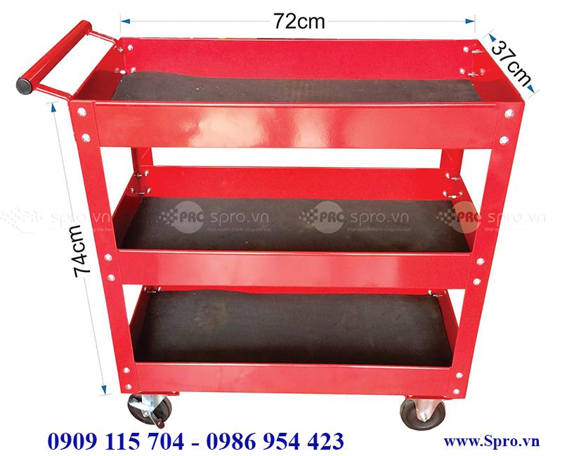 Xe đẩy đựng dụng cụ 3 ngăn, tủ đựng đồ nghề sửa xe