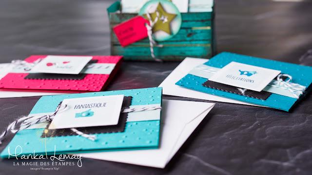 ensemble de cartes avec frame lits caisse en bois Stampin' UP!