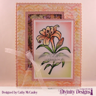 Divinity Designs Stamp Set:Miracle of Easter, Paper Collection:Spring Flowers 2019, Mixed Media Stencils: Arrows, Custom Dies: Pierced Rectangles, Double Stitched Rectangles, Scalloped Rectangles