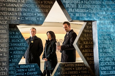 Jonny Lee Miller, Lucy Liu and Aidan Quinn as Sherlock Holmes, Joan Watson and Captain Thomas Gregson in CBS Elementary Season 2 Episode 11 Internal Audit