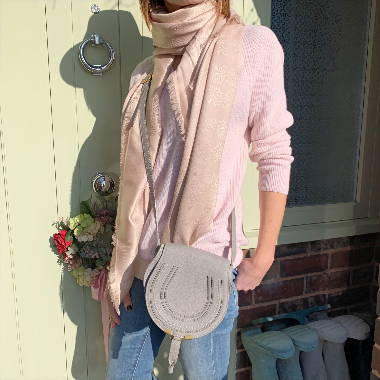 my midlife fashion, zara felt trilby, mulberry square silk tree scarf, chloe marcie small leather cross body bag, j crew toothpick 8 inch stretchy jeans, french sole henrietta glitter ballet pumps, peter hahn include jumper in 100 percent cashmere
