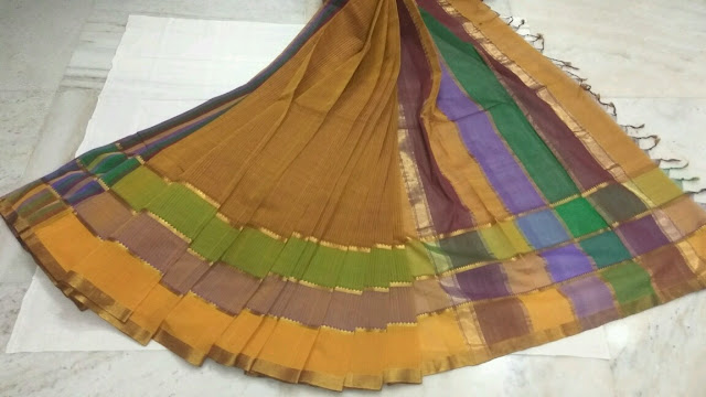 Orange Color Mangalagiri Cotton saree