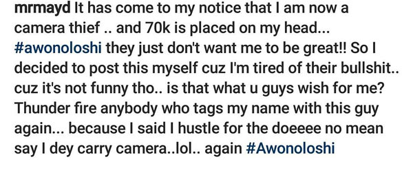 May D blasts blogger for saying that he stole 850k camera