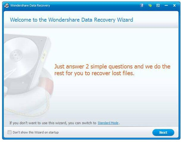 Wondershare Data Recovery - Wizard Mode