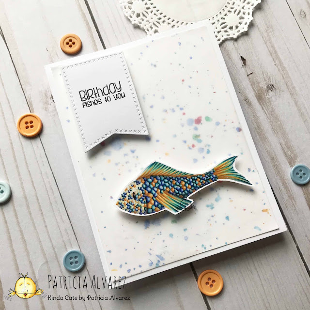 card using pre colored fish from Kinda Cute by Patricia Alvarez