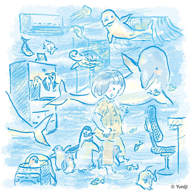新作イラスト(手描きタッチ)水族館の生き物と子ども