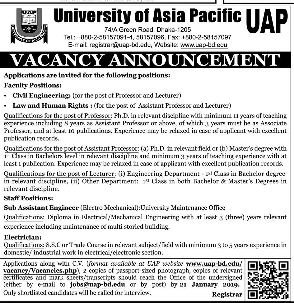 University of Asia Pacific (UAP) Job Circular 2019