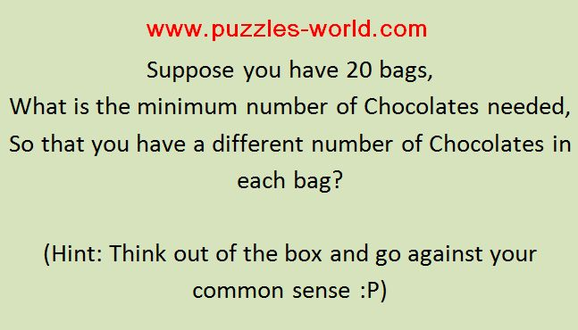 20 Bags of Chocolates Puzzle
