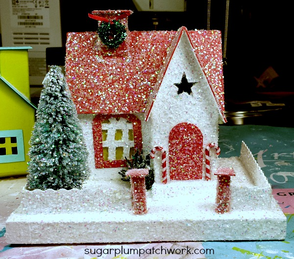 red and white glitter house