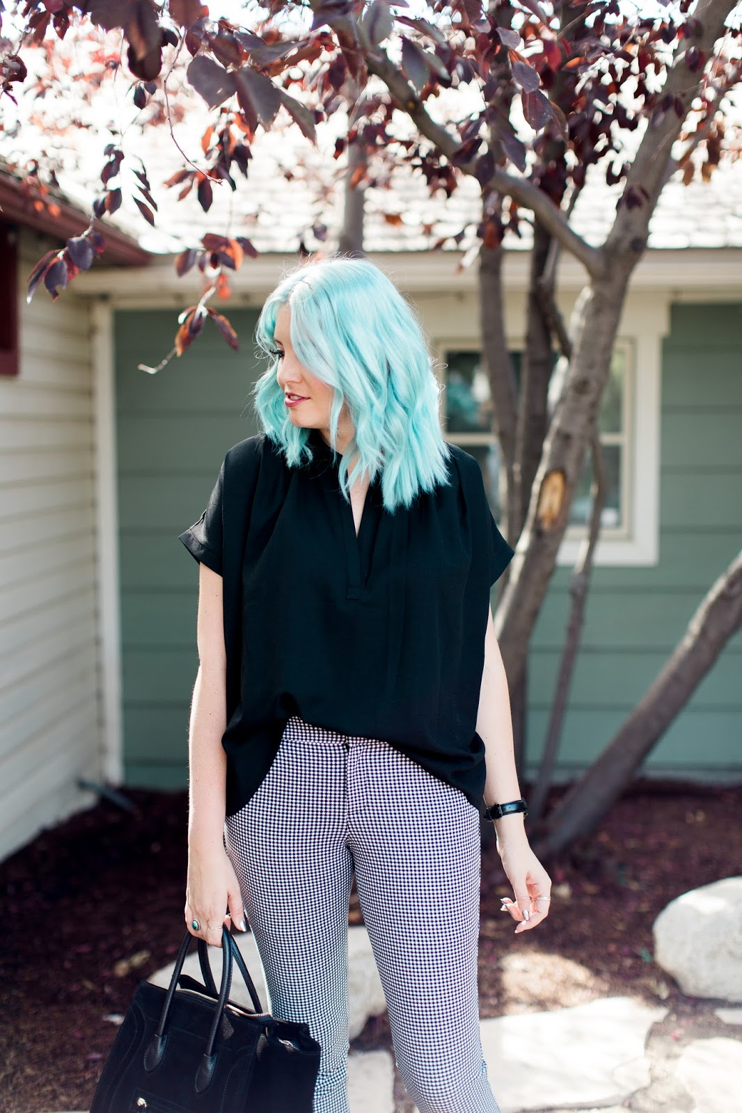 Blue Hair, Black Shirt, Gingham Pants