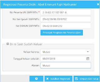 Pengisian registrasi keluar mutasi siswa pada aplikasi dapodik versi 2018 B
