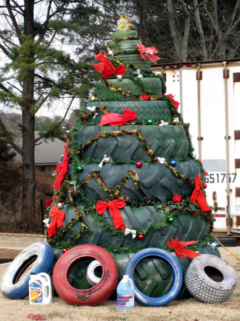 Redneck christmas tree, used tires