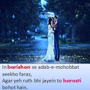 Hindi Shayari Romantic DP Images for Rain season