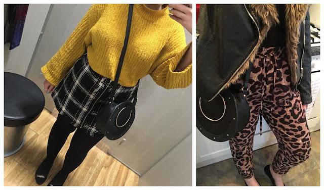 leopard print trousers, mustard jumper