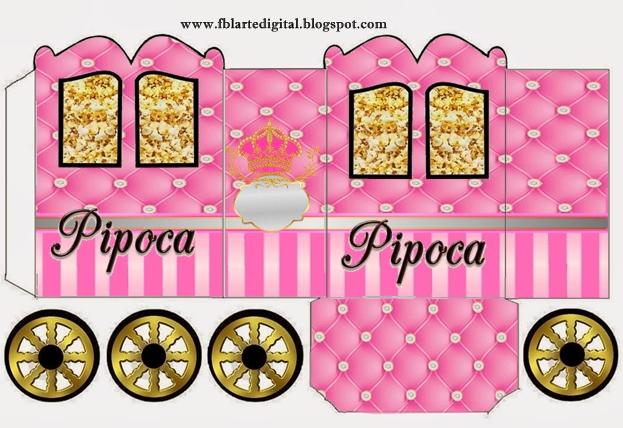 Corona Dorada en Fondo Rosa con Brillantes: Caja con Forma de Carruaje para Imprimir Gratis.