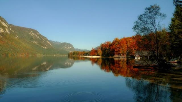 Mountain, Sky in Autumn  at  Lake Bohinj Slovenia
