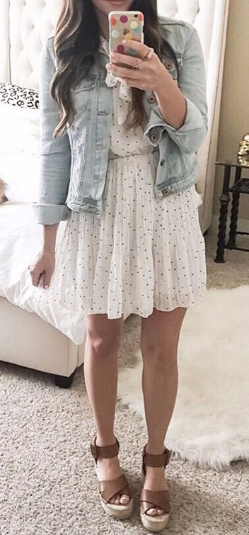 girly outfit idea: dress + denim