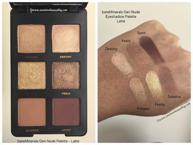 bareMinerals Gen Nude Latte Eyeshadow Palette swatches on dark skin