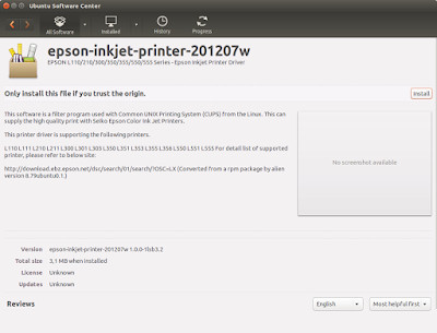 Install driver printer epson l210 di ubuntu software center