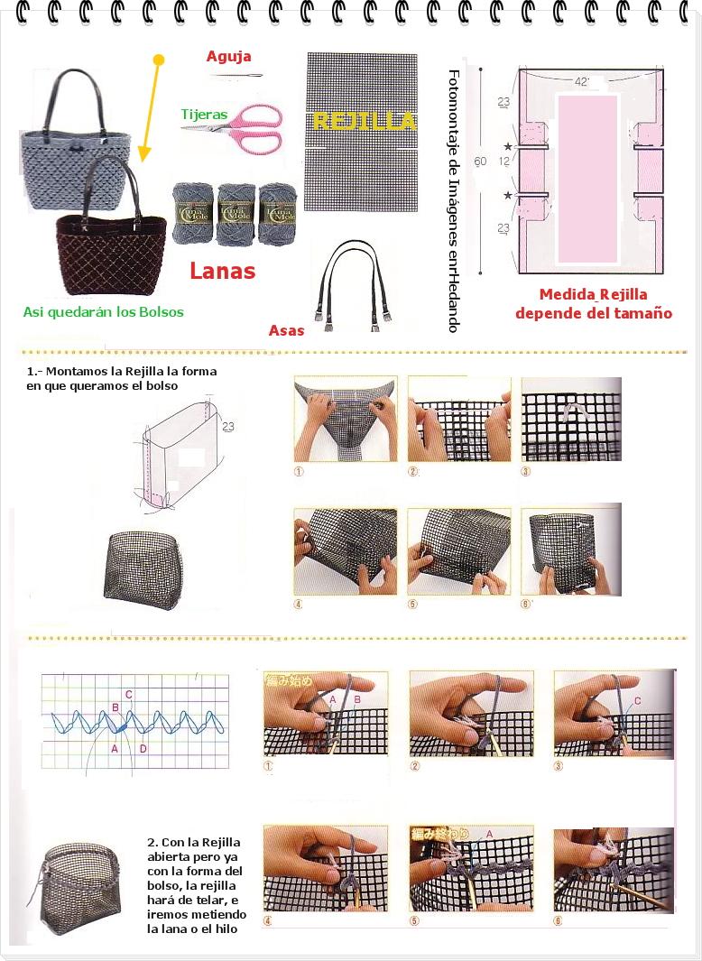 bolsos, rejilla, telares, entretejer, bolso, manualidades, accesorios