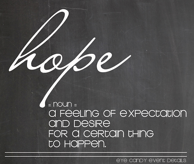 OLW, hope, one little word, chalkboard art, definition of hope, word art