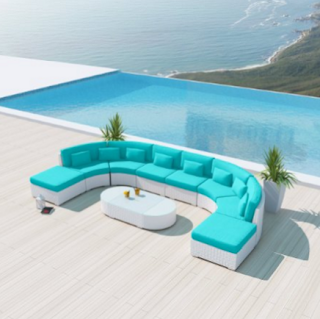 Uduka Vienna 9pcs Outdoor Turquoise Round Sectional Patio Furniture White Wicker Sofa Set All Weather Couch