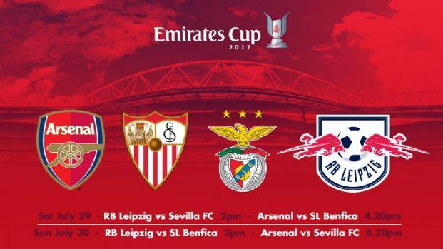 Jadwal Siaran Langsung Emirates Cup 2017: Arsenal, Sevilla, Benfica, Leipzig