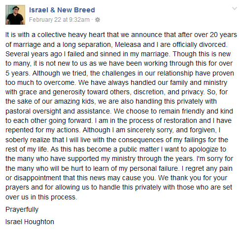 israel houghton marriage