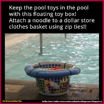 Awesome pool storage ideas - floating toy box made from laundry basket and pool noodle