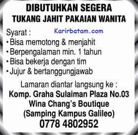 Lowongan Kerja Wina Chang's Boutique