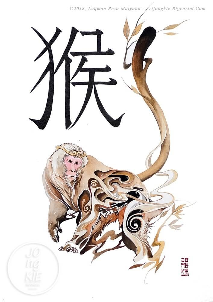 09-The-Monkey-jongkie-Year-of-the-Pig-Chinese-New-Year-Zodiac-Drawings