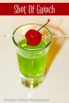 christmas shot, holiday shot, christmas cocktail, midori, melon liqueur, citrus vodka, simple syrup