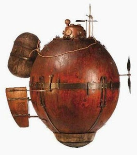 "A replica of David Bushnell's ""turtle"", a one-man hand-pedaled submarine used in the American War of Independence, with limited success"