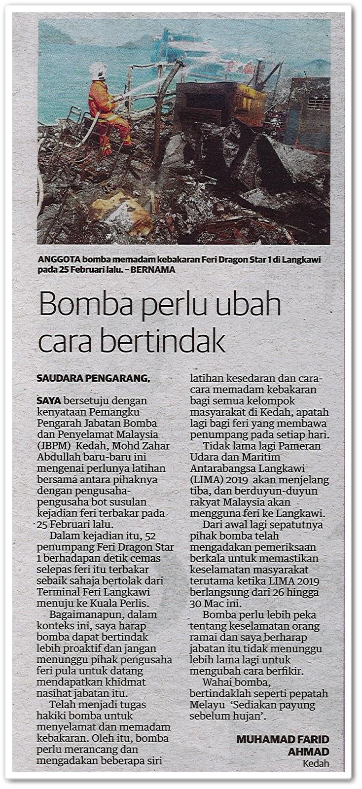 Bomba perlu ubah cara bertindak - Keratan akhbar Utusan Malaysia 4 Mac 2019