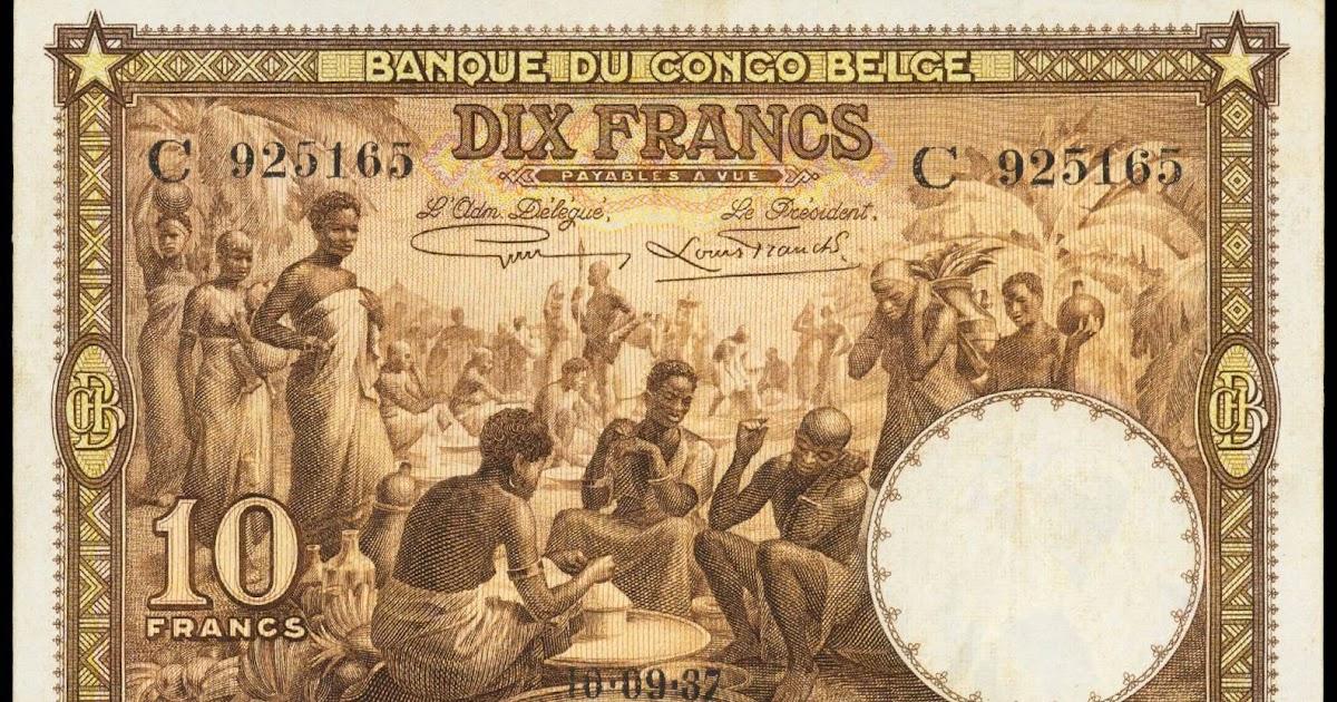 Belgian Congo 10 Francs Banknote 1937 World Banknotes