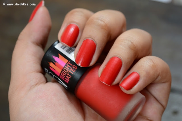 Maybelline New York Color Show Bright Matte Nail Polish Blazing Orange Swatch