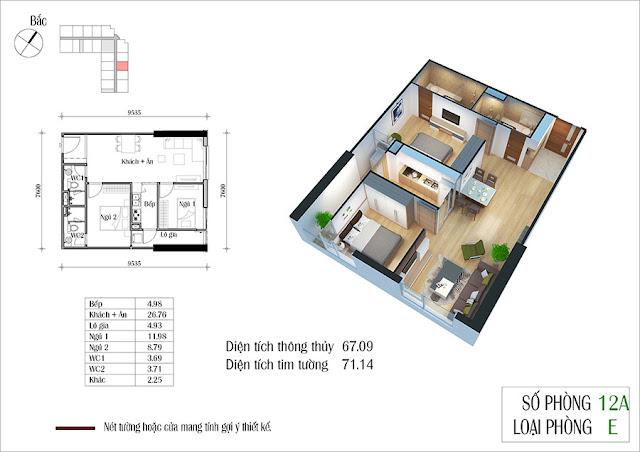 Thiết kế căn hộ số 12A tòa CT2 Eco Green City