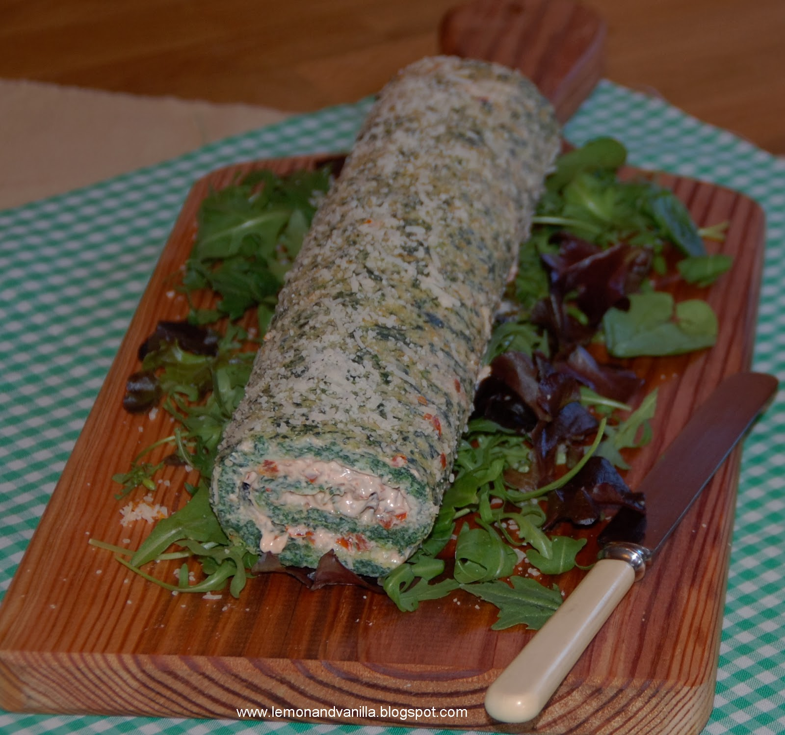 Spinach And Pine Nut Rolls: Lemon & Vanilla: Spinach And Parmesan Roulade With Sun