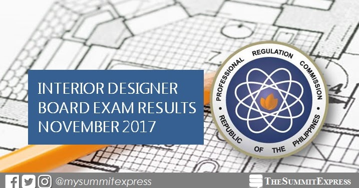 FULL RESULTS November 2017 Interior Designer Board Exam Passers List Top 10