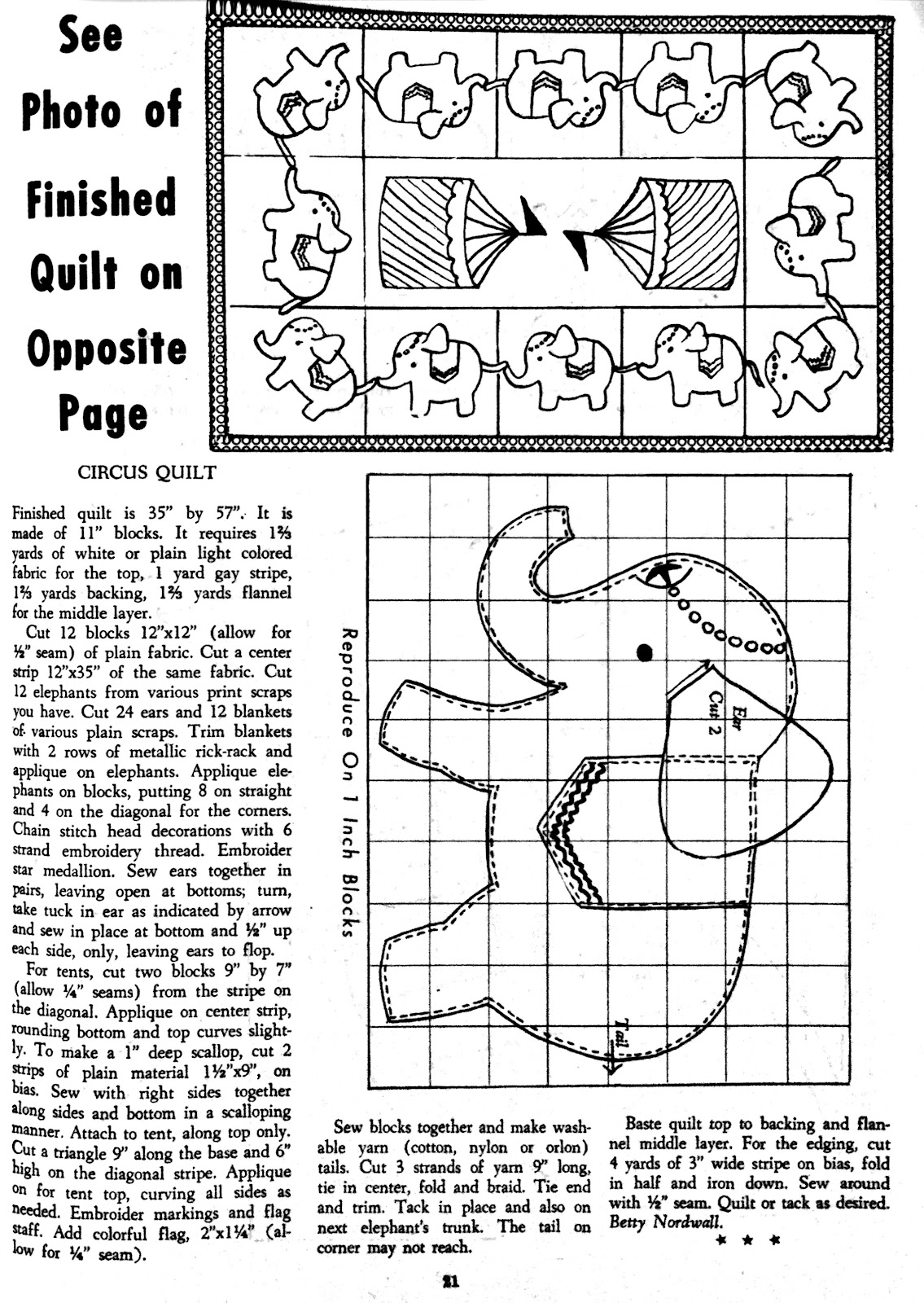 The Literate Quilter: Vintage Patterns: Circus Elephants